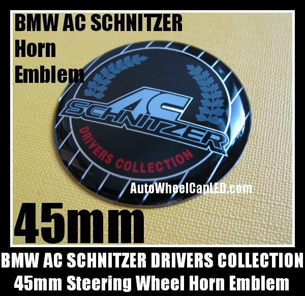 BMW AC Schnitzer Steering Wheel Horn Emblem 45mm Drivers Collection Badge Aluminum Alloy