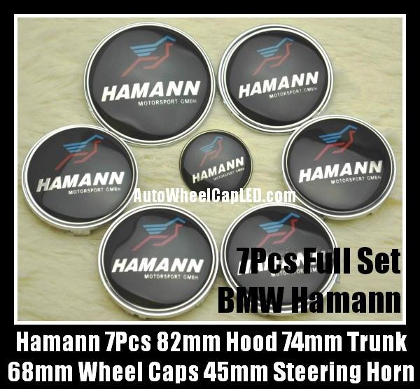 BMW Hamann 7Pcs Emblems 82mm Hood 74mm Trunk 68mm Wheel Center Caps 45mm Steering Horn Motorsport GMBH Bonnet Boot Roundels Badges Blue Red Bird Full Set
