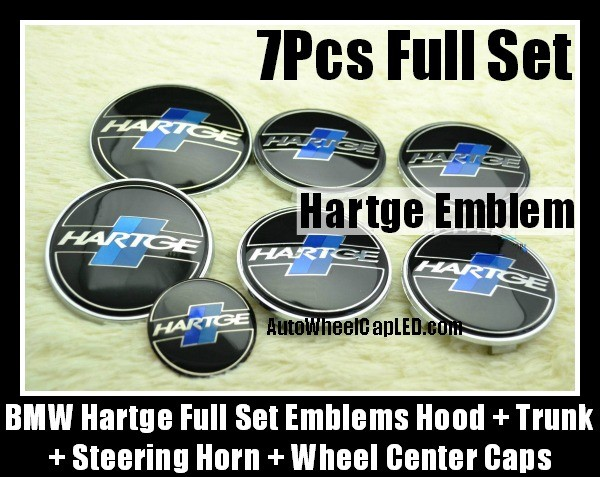 BMW Hartge 7Pcs Emblems 82mm Hood 74mm Trunk 68mm Wheel Center Caps 45mm Steering Horn Black Blue Stripes Bonnet Boot Roundels Badges Full Set