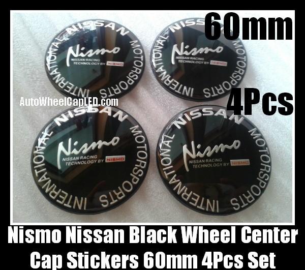 NISMO NISSAN Black Wheel Center Caps Emblems Stickers Badges 60mm Motorsports International Fairlady Sentra Murano Maxima Altima 4Pcs Roundels