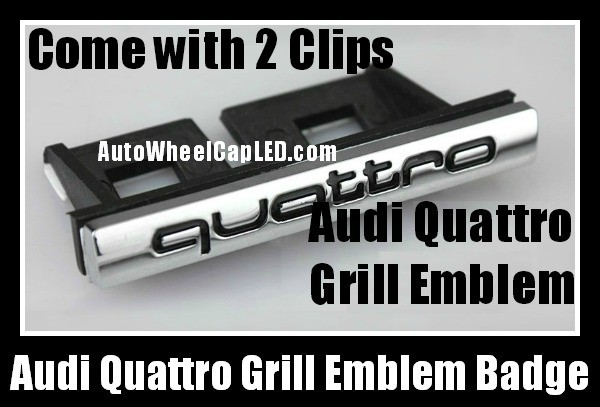 Audi Quattro Front Grill Badge Emblem Black Chrome Silver A3 A4 A5 A6 A7 A8 Q3 Q5 Q7 TT S3 S4 S5 S6 SLine
