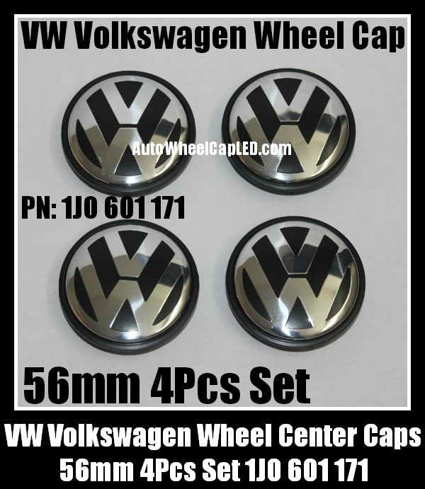 VW Volkswagen 56mm Wheel Center Emblems Caps 1J0 601 171 Golf Polo Jetta Passat Lupo New Beetle ...