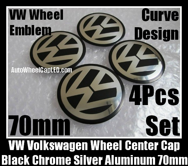 VW Volkswagen 70mm Black Chrome Silver Wheel Center Cap Stickers Emblems Curve Aluminum 4Pcs Set
