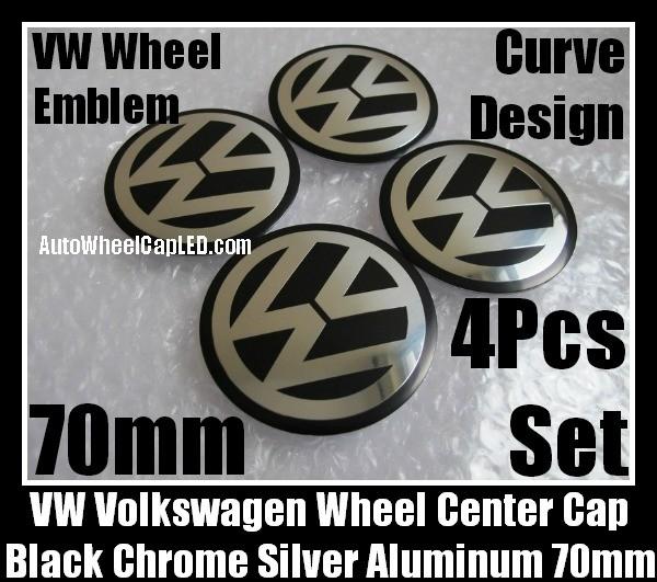 VW Volkswagen 70mm Black Chrome Silver Wheel Center Cap Stickers Emblems Curve Aluminum 4Pcs Set