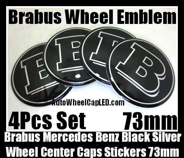 Brabus Mercedes Benz Black Wheel Center Caps Emblems Hubs Badges 73mm Stickers 4Pcs