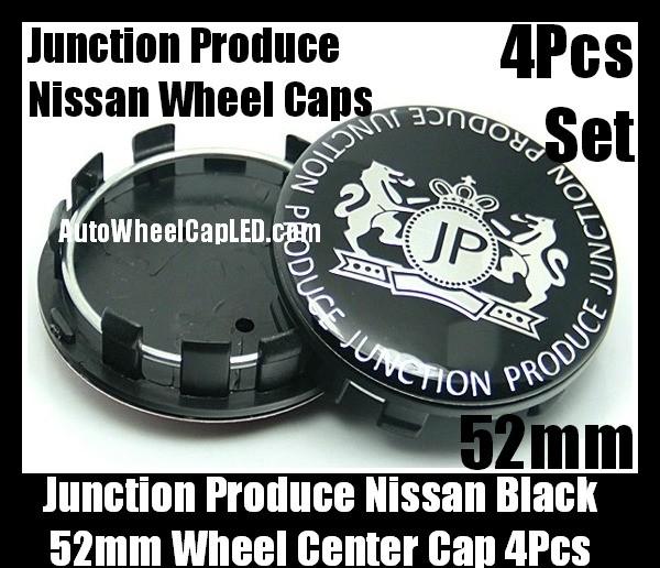 Junction Produce Nissan JP Metal Black 52mm Wheel Center Emblems Caps 4Pcs Set
