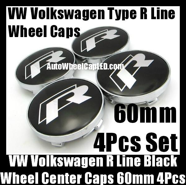 VW Volkswagen Type R Line 60mm Black Chrome Silver Wheel Center Caps Emblems 4Pcs Set
