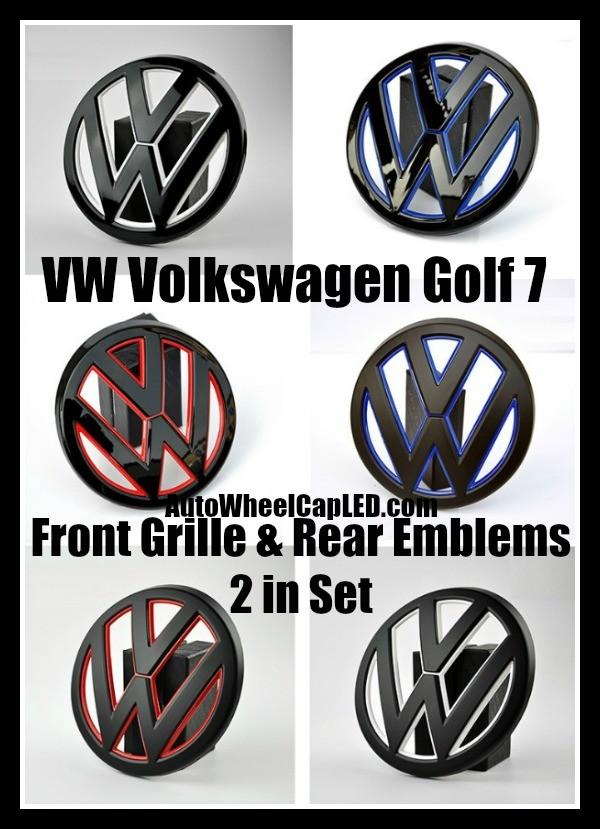 VW Volkswagen Golf 7 Blue Red White Black Gloss Matte Front Grille Hood Rear Trunk Emblems Badges 2Pcs Set Bumper