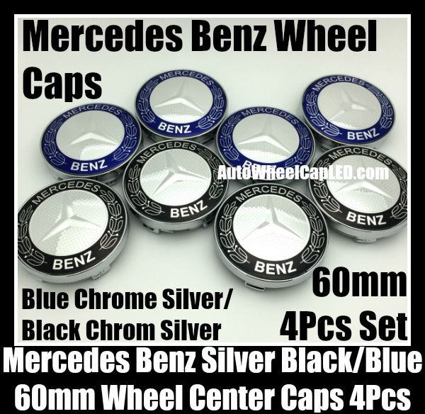 Mercedes Benz 60mm Blue Black Chrome Silver Star Wheel Center Caps Hub Emblems Roundels 4Pcs Set