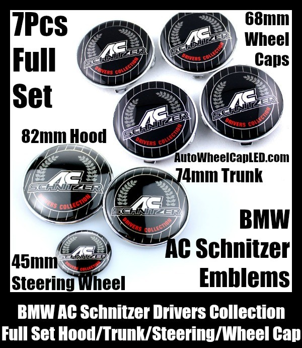 BMW BMW AC Schnitzer Drivers Wheel Center Caps 68mm Steering Horn 45mm Hood 82mm Trunk 74mm Emblems 7Pcs Bonnet Boot Roundels Badges Full Set