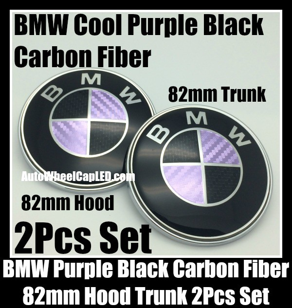 BMW Purple Black Carbon Fiber 2Pcs 82mm Hood Trunk Emblems Bonnet Boot Badges Set