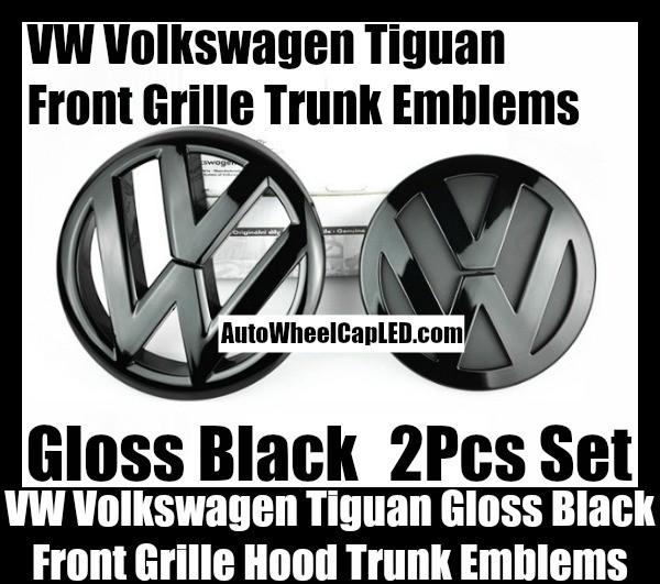 VW Volkswagen Tiguan Gloss Black Front Grille Hood Rear Trunk Emblems Badges 2Pcs Bonnet Boot Bumper