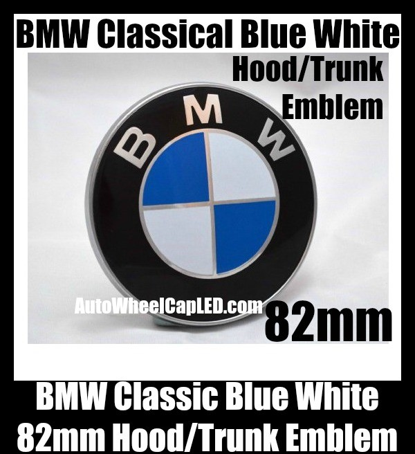 BMW Classic Blue White 82mm Hood Trunk Emblems Badge Roundel Bonnet Boot Aluminium Alloy 2Pins