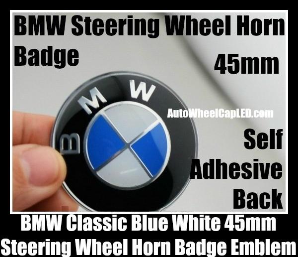 BMW Classic Blue White Steering Wheel Horn Emblem Roundel Badge 45mm Aluminium Alloy Self Adhesive Back