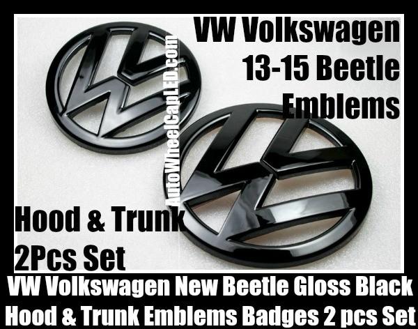 VW Volkswagen New Beetle 2013-2015 Gloss Devil Black Front Hood Rear Trunk Emblems Bonnet Boot Badges 2Pcs Set
