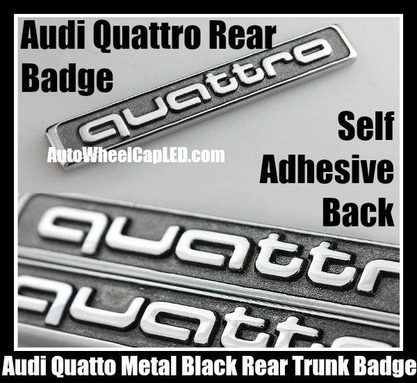 Audi Quattro Rear Trunk Metal Black Chrome Silver Emblem