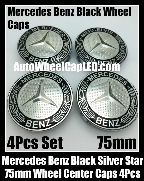 Mercedes benz 75mm black chrome silver star wheel center for Mercedes benz wheel cap emblem