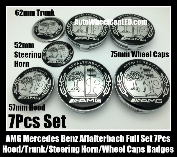AMG Mercedes Benz Affalterbach Silver Apple Tree Wheel Center Caps 75mm Steering Horn 52mm Hood 57mm Trunk 62mm Emblems 7Pcs Bonnet Boot Roundels Badges Full Set