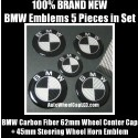 BMW Carbon Fiber Black White 62mm Wheel Center Caps Roundels 45mm Steering Horn Emblems Badges Stickers 5Pcs Full Set