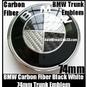 BMW Carbon Fiber Black White OEM Trunk Emblem Roundel Badge 74mm 2Pins