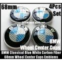 BMW Carbon Fiber Blue White Wheel Center Hubs Caps 68mm 4Pcs Roundel Emblems Badges Curve