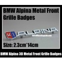 BMW Alpina 3D Front Grille Emblem Grill Badge Chrome Silver Metal Alloy