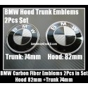BMW Black White Carbon Fiber 82mm Hood 74mm Trunk Emblems Bonnet Boot Roundels Badges 2Pcs
