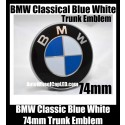 BMW Classic Blue White 74mm Trunk Emblems Badge Roundel Boot Aluminium Alloy 2Pins