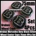 Brabus Mercedes Benz Black Chrome Silver Wheel Center Caps 75mm CLK S C Class C200 C180 E63 4Pcs Set