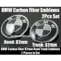 BMW Black White Carbon Fiber 2Pcs 82mm Hood Trunk Emblems Bonnet Boot Roundels Badges