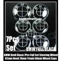 BMW Full Black 7Pcs Emblems 82mm Hood 74mm Trunk 68mm Wheel Center Caps 45mm Steering Horn Bonnet Boot Roundels Badges Full Set
