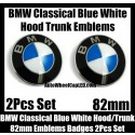 BMW Classical Blue White 2Pcs 82mm Hood Trunk Emblems Badge Bonnet Boot Aluminium Alloy Set 2Pins