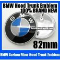 BMW Blue White Carbon Fiber Hood Trunk Emblem 82mm Roundel Badge