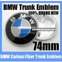 BMW Blue White Carbon Fiber Trunk Emblem 74mm Roundel Badge 2Pins