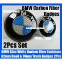 BMW Blue White Carbon Fiber 82mm Hood 74mm Trunk Emblems Bonnet Boot Badges 2Pcs Set