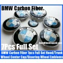 BMW Carbon Fiber Blue White Wheel Center Caps 68mm Steering Horn 45mm Hood 82mm Trunk 74mm Emblems 7Pcs Bonnet Boot Roundels Badges Full Set