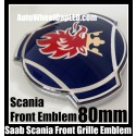 Scania Saab 80mm Blue Front Grille Emblems Badges Aluminium 2Pins