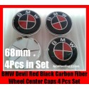BMW Devil Red Black Carbon Fiber Wheel Center Hub Caps 68mm 4Pcs Roundels Emblems Badges