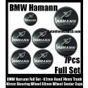 BMW Hamann 7Pcs Emblems 82mm Hood 74mm Trunk 68mm Wheel Center Caps 45mm Steering Horn Motorsport GMBH Bonnet Boot Roundels Badges Silver Bird Full Set