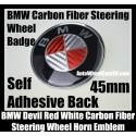 BMW Devil Red White Carbon Fiber Steering Wheel Horn Emblem Badge Roundel 45mm