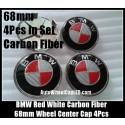 BMW Devil Red White Carbon Fiber Wheel Center Hub Caps Curve 68mm Metal Alloy 4 Pieces Set