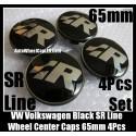 VW Volkswagen SR Line Black Chrome Silver Wheel Center Caps 65mm 3B7 601 171 4Pcs Set Aluminum Alloy Golf Bora Jetta Polo Passat 3B7601171