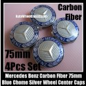 Mercedes Benz Silver Carbon Fiber Blue Chrome Star Wheel Center Caps 75mm CLK ML GL SL CL E C 4Pcs Emblems Roundels