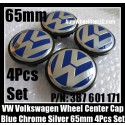VW Volkswagen 65mm Blue Chrome Silver Wheel Center Emblems Caps 3B7 601 171 Golf Bora Jetta Polo Passat 4Pcs Set 3B7601171