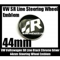 VW Volkswagen SR Line Black Chrome Silver 44mm Steering Wheel Horn Emblem