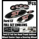 Ford ST Red Black 7Pcs Wheel Center Caps Steering Horn Hood Trunk Emblems Bonnet Boot Roundels Badges Full Set