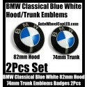 BMW Classical Blue White 82mm Hood 74mm Trunk Emblems Badge Bonnet Boot Aluminium Alloy 2Pcs Set 2Pins