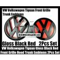 VW Volkswagen Tiguan Gloss Red Black Front Grille Hood Rear Trunk Emblems Badges 2Pcs Bonnet Boot Bumper