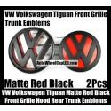 VW Volkswagen Tiguan Matte Red Black Front Grille Hood Rear Trunk Emblems Badges 2Pcs Bonnet Boot Bumper