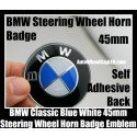 BMW Classic Blue White Steering Wheel Horn Emblem Roundel Badge 45mm Aluminium Alloy Self Adhesive Back